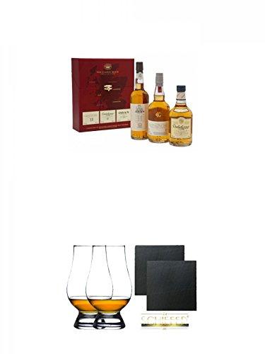 Classic Malts Collection Gentle 3 x 0,2 Liter + The Glencairn Glass Whisky Glas Stölzle 2 Stück + Schiefer Glasuntersetzer eckig ca. 9,5 cm Ø 2 Stück