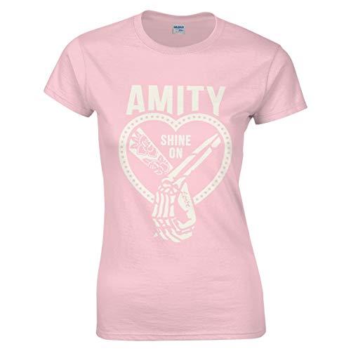 Damen Amity Affliction Shine-On Logo Bekleidung T-Shirt Kurzarm Pink L Tee T Shirt Rundhalsausschnitt Sommer Tshirt Für Frauen