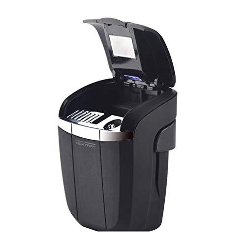 NACHEN Tragbarer Autowagen Smokeless Stand Zylinder Becherhalter Zigaretten Aschenbecher Mit Blauem LED-Licht,Black,78X45x85mm