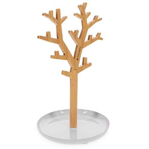 Navaris Árbol organizador de joyas de bambú - Soporte para pendientes con...