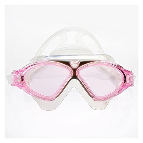 JINGGEGE Occhiali da Nuoto Occhiali da Acqua in Silicone Cintura in Silicone subacqueo Grande Occhiali Anti-Nebbia Impermeabile Sport Occhiali ottici (Color : New Pink)