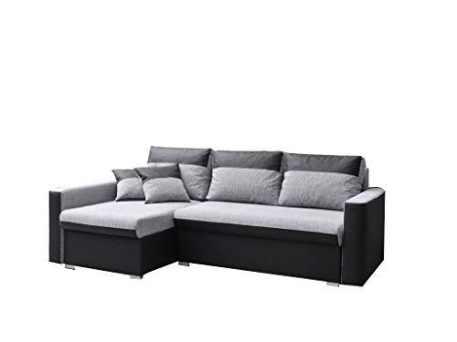 mb-moebel Ecksofa Sofa Eckcouch Couch mit Schlaffunktion und Zwei Bettkasten Ottomane L-Form Schlafsofa Bettsofa Polstergarnitur - Berlin (Ecksofa Links, Schwarz)