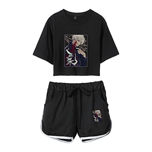 YZJYB Jujutsu Kaisen 3D Gojo Satoru Mujeres Sexy Verano Manga Corta Dos Piezas Conjunto Camisetas + Pantalones Cortos Niñas Crop Top T-Shirt Y Shorts Set,Negro,X~Large