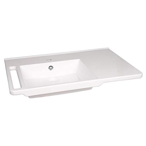 KIBOMED GTM-803 Senioren-Waschbecken weiß | 800x555mm | mit Überlauf-Schutz | Waschbecken links | einfache Griffkante & Handtuchhalter | behindertengerecht | Rollstuhl unterfahrbar