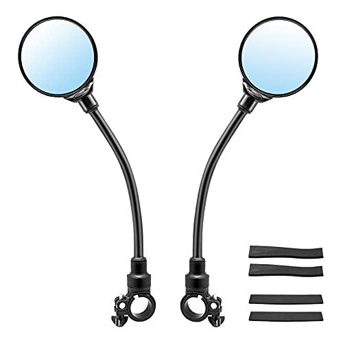 Set di 2 specchietti retrovisori per bicicletta, specchio convesso per bicicletta regolabile e ruotabile a 360° per manubrio, specchio grandangolare per biciclette, mountain bike, bici BMX