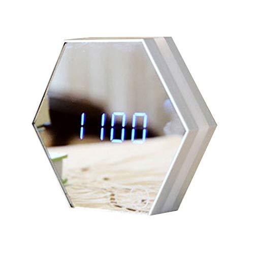 Fugift Spiegel Wecker CoS‐etic Spiegel mit Nachtlicht, Digital Thermometer Kalender und Nachttischuhr, USB Aufladen für Zuhause Schlafzimmer Küche Zuhause Uhr Dekorationen
