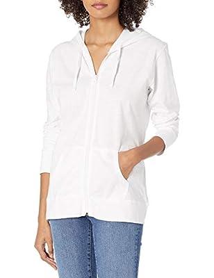Hanes Women's Jersey Full Zip Hoodie, White, X-Large