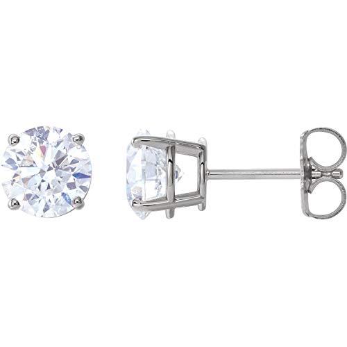 14k White Gold 2 CTW Diamond Stud Earrings Fine Jewelry for Women