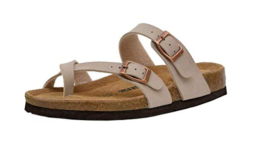 CUSHIONAIRE Women's Luna Cork Footbed Sandal with +Comfort, Stone,8