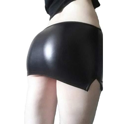 XPuing Minirock Sexy Frauen Kleine Lederrock Paket Hüftrock Enges Bleistiftkleid (Schwarz) (XXL)
