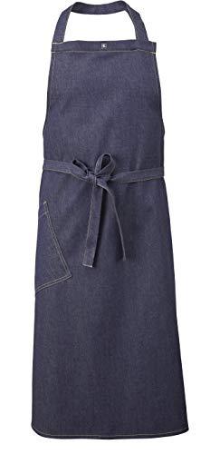 MEDANTA Navy Denim - Delantal de cocina profesional para hombres y mujeres, con práctico bolsillo, tejido vaquero, delantal de cocina, delantal de barbacoa, color azul, talla única