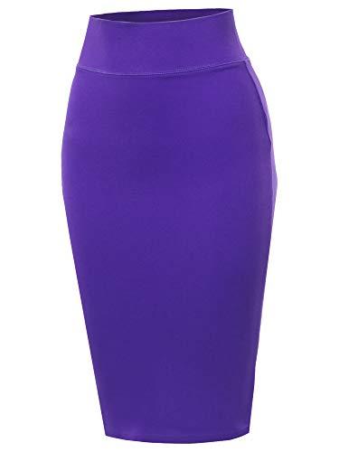 Solid Ponte Knee Length Slit Techno Span High Waist Pencil Skirt Purple S