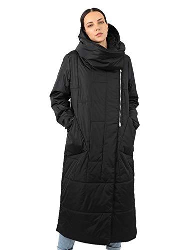 Mujer de las Mujeres de Abajo Chaqueta Larga Parka Extraíble con Capucha Cuello Acolchado Abrigo Globo Tamaño Grande Acolchado Ropa de Algodón 18-956