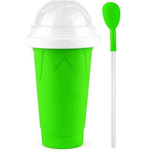 LifBetter Taza de batido doble de 350 ml, taza de refrigeración para máquina de helado, taza para batido DIY ecológica con cuchara