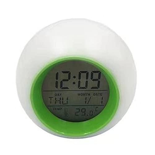 DWAC Reloj Despertador Digital Esférico Creativo, 7 Colores LED Cambiar Luz Luz De Noche Control De Despertador Reloj Electrónico Niños Lámpara De Noche