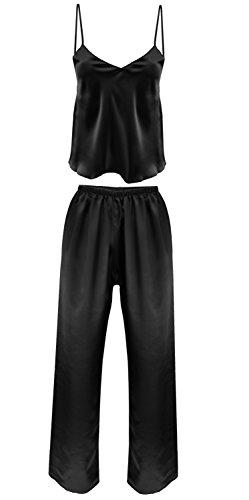 Nachtwäsche Damen Satin Schlafanzug Lang Pyjama Zweiteiler Spaghettiträger Top Schlafanzughose lang IGA (M, Schwarz)
