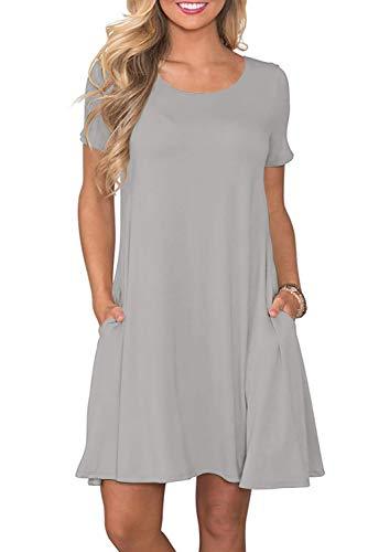 Bequemer Laden Sommerkleid Damen Casual Lose Kurzarm T-Shirt Kleid Knielang Freizeitkleid Tunika Einfarbig/Blumen Elegant Swing Kleider mit...