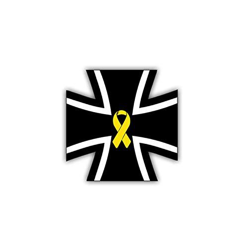 Aufkleber/Sticker Kreuz mit Gelber Schleife Bundeswehr Solidarität 7x7cm #A1019