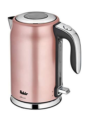 Fakir Adell/Edelstahl-Wasserkocher, Teekocher, mit Wasserstandsanzeiger, Ein/Aus-Funktion, 1,7 Liter – 2.200 Watt (Rosé)
