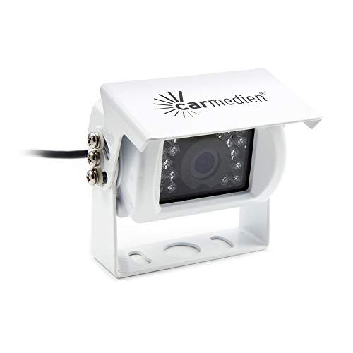Carmedien Rückfahrkamera IR18 120° IP68 Rückfahr Kamera für Wohnmobil Transporter LKW weiß 12V 24V