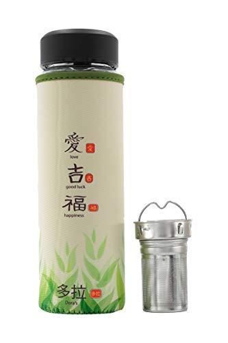 Dora's Trinkflasche mit integriertem Teefilter Infuser Glasflasche mit Neopren Teeflasche 500 ml