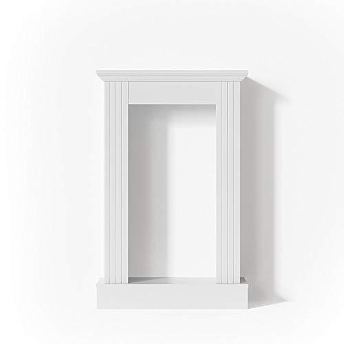 Vicco Kaminumrandung im Landhaus Stil 110 x 70 cm in Weiß - Umbau Sims Rahmen Konsole Kamin Elektrokamin Gelkamin