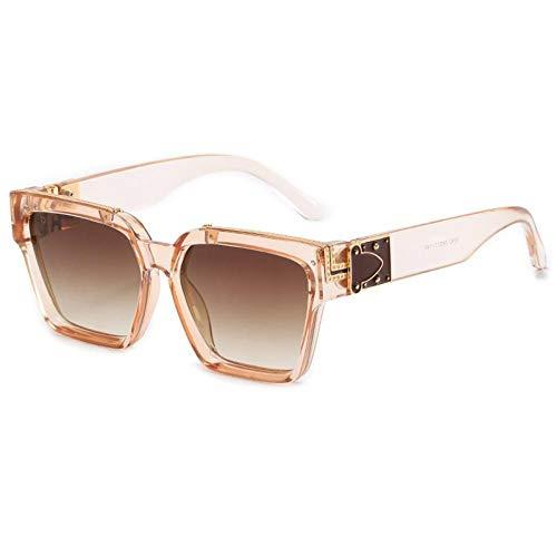 ZZOW Gafas De Sol Cuadradas De Gran Tamaño De Estilo Retro Punk para Hombre Ins Populares Lentes De Gradiente Tintadas Gafas De Sol De Moda para Mujer Uv400