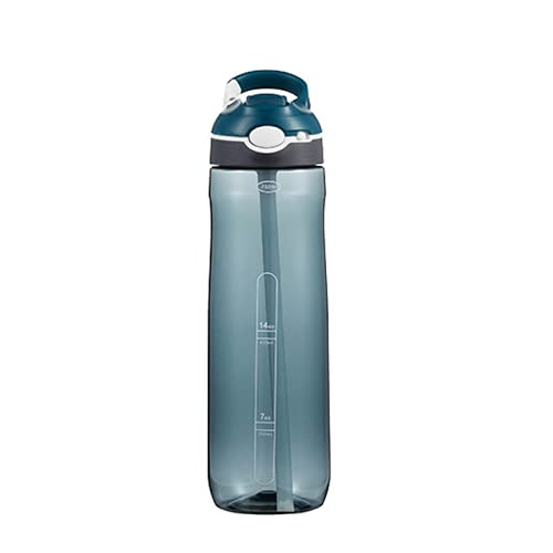 TANJUN Botella de agua con pajita de plástico de capacidad múltiple, sin BPA, botella de agua personalizada, con filtro extraíble, a prueba de fugas y duradera