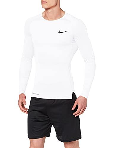 Nike PRO, Maglia A Maniche Lunghe Uomo, Bianco (White/Black), S