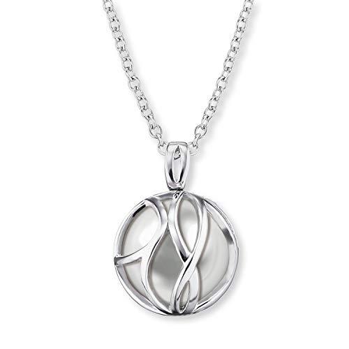 Engelsrufer - Damen Halskette Paradise aus 925 Sterlingsilber mit Glasperlen Anhänger grau, Silber Kette mit Glasanhänger edel, Damenkette echtsilber mit Kettenanhänger