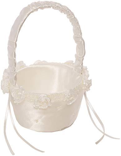 Simplicity - Cesta pequeña de flores para niña, color blanco marfil, 17 cm de ancho x 14 cm de largo x 20 cm de alto