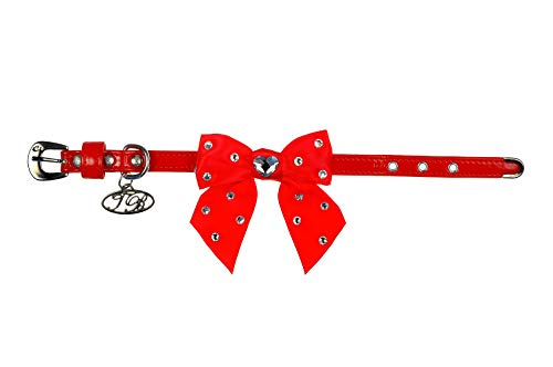 Trilly tutti Brilli Lia Collier pour Chien avec nœud décoré Swarovski Rouge Verni 30 cm