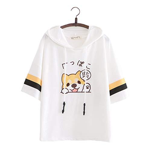 Damen Kawaii T-Shirts Cute Puppy Bestickt Pullover Kapuzenpullover Top Tees Kurzarm T-Shirt Bluse Gr. One size, weiß