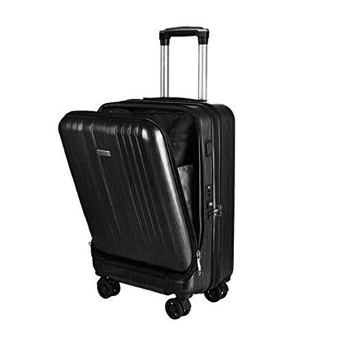 スーツケース小型 機内持込 旅行カバン TSAロック【USB ポート搭載】 フロントオープン 1〜3日用 静音8輪 超軽量 大容量 旅行 出張 (ブラック)