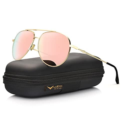 Aviator Sunglasses for Womens Polarized Pink Mirror by LUENX - UV 400 Protection Gold Frame 60mm