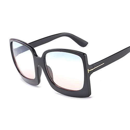 DLSM Gafas de Sol de Gran tamaño Vintage Gafas de Sol Plaza Glass de Mujer Retro Leopardo Degradado de Moda Adecuado para Deportes al Aire Libre Playa Golf-Azul Rosado