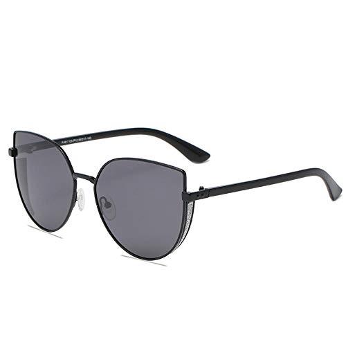 Gosunfly Gafas de sol de tendencia de metal polarizado de moda para mujer de estilo coreano cara redonda que adelgaza sombrilla espejo-C5-P12 negro