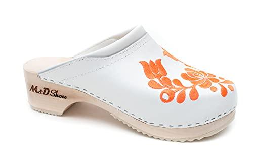 Zuecos de piel con diseño bordado de tulipanes para mujer, hechos a mano, Blanco, 38 EU