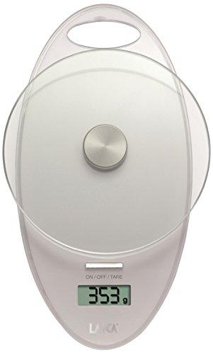 Laica KS1005 Bilancia da Cucina Elettronica, Piatto in Vetro Temperato, 3 kg, Colore Bianco, cristallo