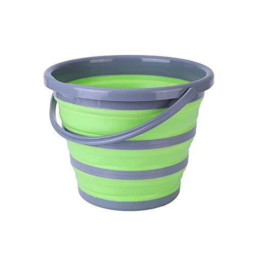 (エーアンドアイ) 折り畳みバケツ シリコン コンパクト フォールディングバケツ アウトドア 洗車 ガーデニング 洗濯 お風呂 園芸 SG(1つ グリーン×グレー)