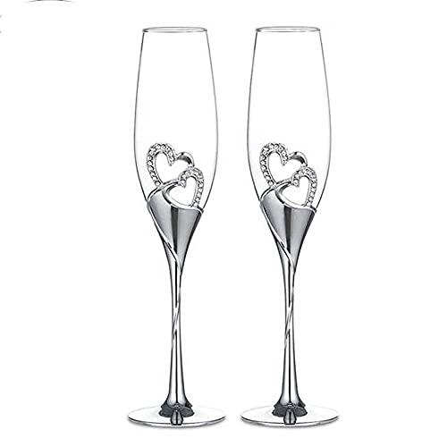 Whyzb 2 unids corazón Forma Vino Vidrio Boda Champagne Gafas Cristal Copa Banquete Boda Decoraciones