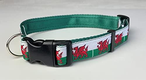 KLASSY K9 - Collar de perro con diseño de bandera de la ciudad en color verde, 2,5 cm de ancho, tamaño grande