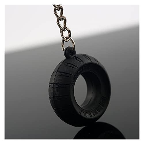 DUYANGYANG 10 unidades/lote de llavero para neumáticos de motocicleta, llavero de goma para coche, color negro