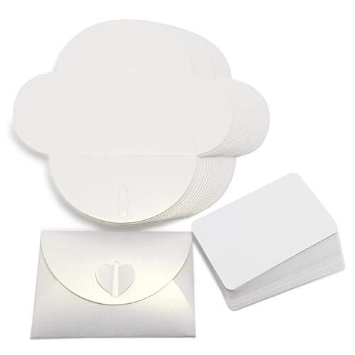 【EDEN】 45 days ラブレター ・・・ かどまるメッセージカード45枚 & ハートボタンのミニ封筒 ラメ調 光沢 パールホワイト 45枚 [組立式][E519]