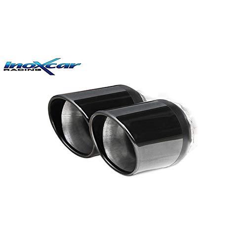InoXcar FIPN.19.XR80 BLACK 100% Edelstahl Sportauspuff passend für FIAT Grande Punto 1.4 T-Jet (155PS) 2007-2x76mm X-Race Edition (Ø55mm)