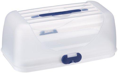 Emsa 503940 Rechteckige Kuchenbox mit Haube, 35 x 18 cm, Weiß/Blau, Superline