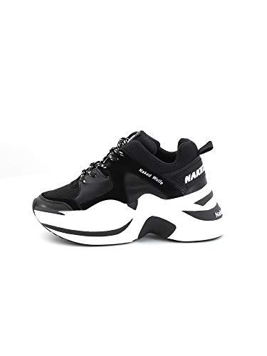 NAKED WOLFE Flache Schuhe für Damen mit Plattform Track Black/Off White Combo Größe 40 Black