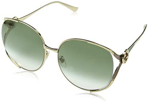 Gucci GG0225S 003 Occhiali da Sole, Oro (3/Green), 63 Donna
