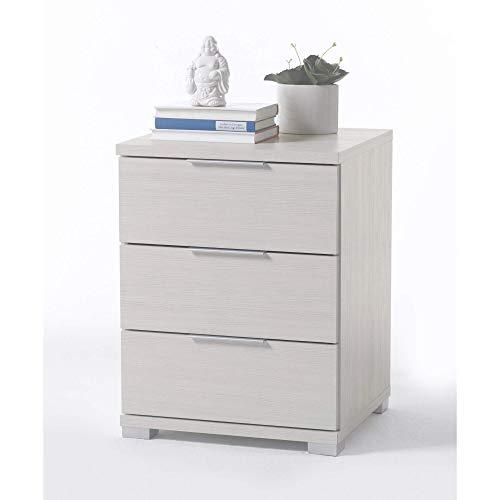 Universal Nachttisch in Pinie Weiß Optik - Moderner Nachtschrank mit drei Schubladen für Ihr Boxspringbett - 46 x 61 x 42 cm (B/H/T)