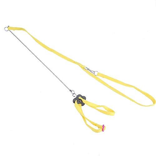 HEEPDD Arnés y Correa de Ave de 1,2 m, Cuerda de Entrenamiento antiparreja de Vuelo Ajustable para Loros cacatúa Gris Africana y Paseo al Aire Libre de lagartos Reptiles (Amarillo)